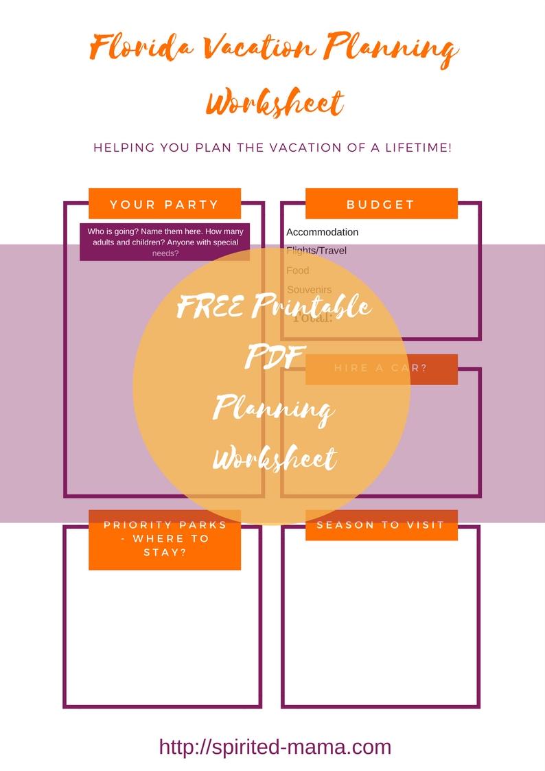 trip planning worksheet