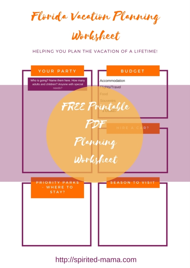 WDW Walt Disney World vacation holiday planning worksheet free printable