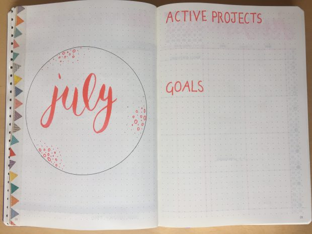 bujo planning July goals spread