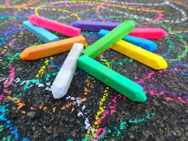 pavement sidewalk chalk kids street art
