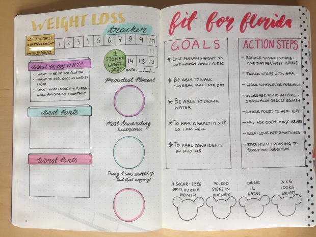 Planning a Florida Vacation - Fit for Florida in my bullet journal, bujo fitness inspiration