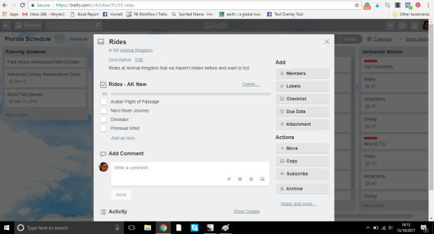 Trello board for Orlando holiday planning