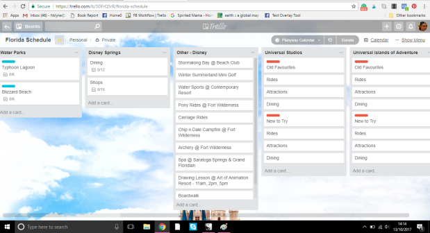 Trello board for planning an Orlando vacation at Walt Disney World and Universal